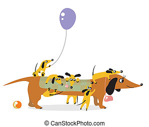 Mum-dog and its playful children