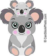 Mum koala with her baby on head