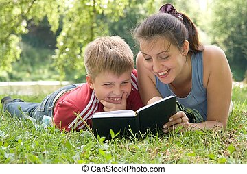 mum, lê, livro, filho