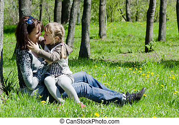 Mum with a daughter on rest in park