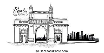 Mumbai city, India. Urban skyline with skyscraper buildings silhouette. Travel India background