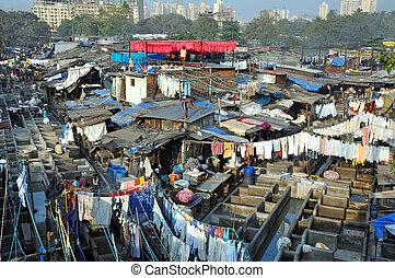mumbai, ghat, india., dhobi