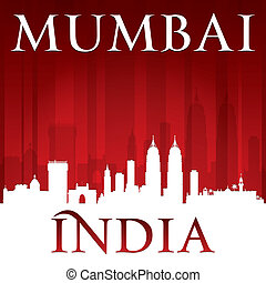 Mumbai India city skyline silhouette red background