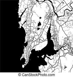 Mumbai, India, Monochrome Map Artprint