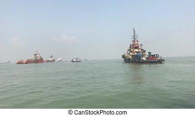 Mumbai, India - View of ships in the Arabian Sea part 15