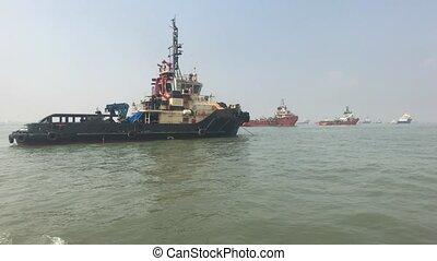 Mumbai, India - View of ships in the Arabian Sea part 16