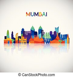 Mumbai skyline silhouette in colorful geometric style.