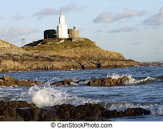 Mumbles Lighthouse at Bracelet Bay, Swansea