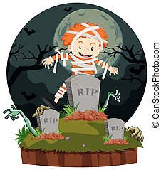 mumie, junge, halloween, kleidet