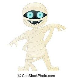 mummia, carino, carattere, cartone animato