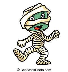 mummia, carino, monster-, vettore, illustrazione