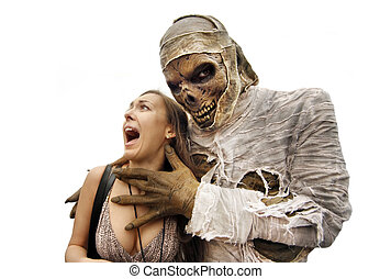 Mummies and young woman - Mummies bandaged and decomposing...