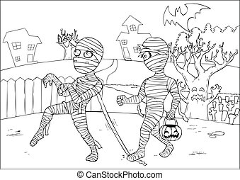 Mummies Colouring Page - Outline drawing of mummies