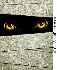 mummies, halloween, eyes, donker, verband, achtergrond