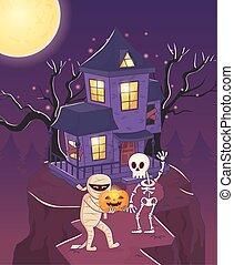 mummy and skeleton with pumpkin halloween