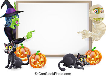 Halloween sign or banner with orange Halloween pumpkins and black witch's cats, witch's broom stick and cartoon witch and mummy characters