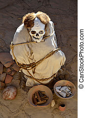 Mummy at Chauchilla Cemetery near Nazca in Peru