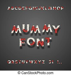 Mummy Bandage Font With Blood. Halloween Sans Serif Typeface. Letters, Punctuation Marks, Numbers 3 And 1. Latin Alphabet. Vector.