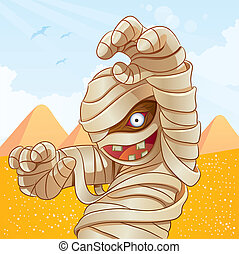 cartoon illustration of mummy for your halloween image