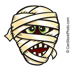 Mummy Face - Cartoon illustration of a mummy's face for...