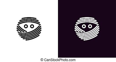 Mummy face with eyes in outline style