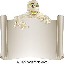 Mummy Halloween Banner Scroll - An illustration of a ...