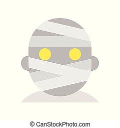 mummy, halloween character set icon, flat design