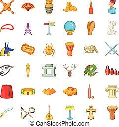 Mummy icons set, cartoon style