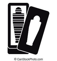 Mummy in sarcophagus icon, simple style