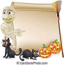 Mummy Scroll Halloween Banner - Halloween scroll or banner...