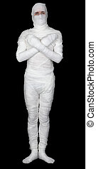 Mummy with cross hands on breast on black