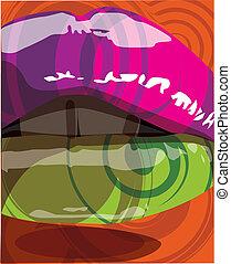 mun, vektor, färgrik, illustration