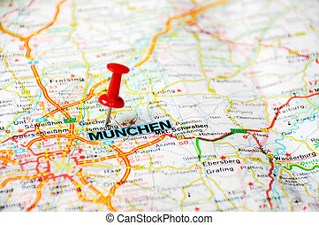 Munchen Germany Map Airplan Close Up Of Munich Germany Map With