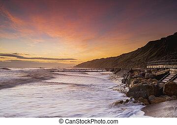 mundesley, spiaggia, alba