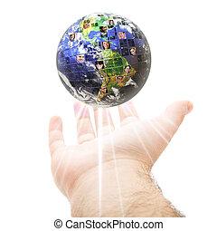 mundial, comunicación, concepto, global