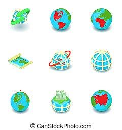 mundial, isométrico, iconos del negocio, conjunto, estilo