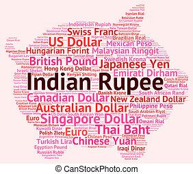 mundial, rupia, extranjero, indio, comercio, exposiciones