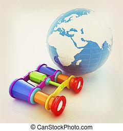 mundialmente, busca, conceito, com, earth., 3d, illustration., vindima, style.