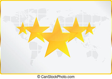 mundialmente, cinco, qualidade, estrelas, cartão