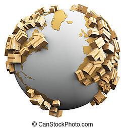 mundialmente, despacho, reciclagem, e, danos ambientais, conceito