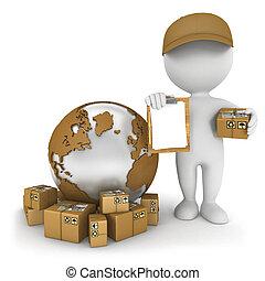 mundialmente, entrega, branca, 3d, pessoas