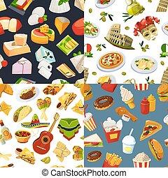 mundialmente, europa, diferente, jogo, itália, méxico, cuisines, seamless, grande, padrão