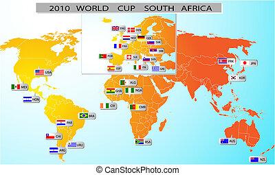 mundo, áfrica, 2010, sul, copo