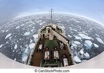 mundo, ártico, topo, mar