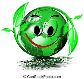 mundo, árvore, sorrizo