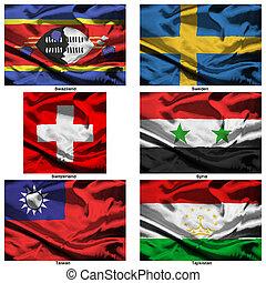 mundo, 37, banderas, colección, tela