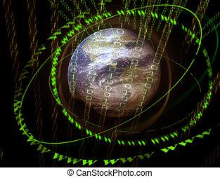 mundo, 3d, digital