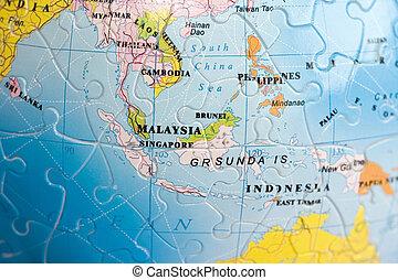 mundo, 3d, south-east, asia, puzzle: