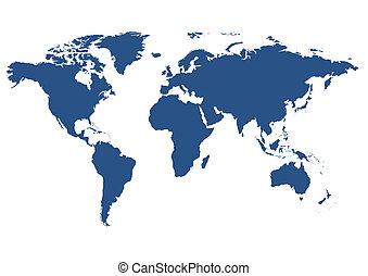 mundo, aislado, mapa