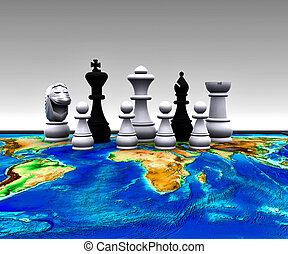 mundo, -, ajedrez, 3d